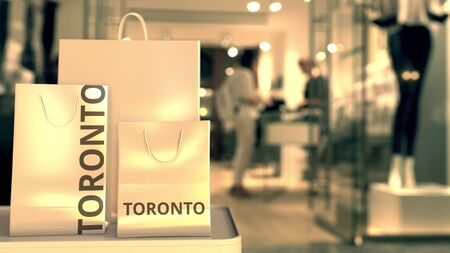 Bags with Toronto text. Shopping in Canada related conceptual 3D rendering