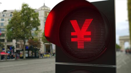 Yen sign on red traffic light signal. Forex related conceptual 3D rendering 版權商用圖片