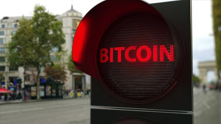 BITCOIN text on red traffic light signal. Cryptocurrency ban related conceptual 3D rendering