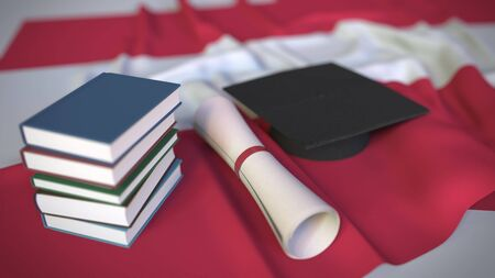 Graduation cap, books and diploma on the Austrian flag. Higher education in Austria related conceptual 3D rendering