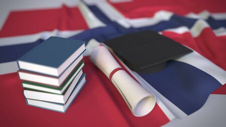 Graduation cap, books and diploma on the Norwegian flag. Higher education in Norway related conceptual 3D rendering
