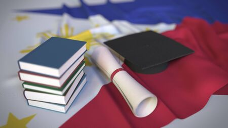 Graduation cap, books and diploma on the flag. Higher education in the Philippines related conceptual 3D rendering