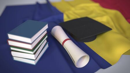Graduation cap, books and diploma on the Romanian flag. Higher education in Romania related conceptual 3D rendering