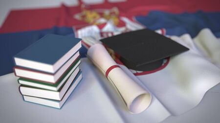 Graduation cap, books and diploma on the Serbian flag. Higher education in Serbia related conceptual 3D rendering Stock Photo