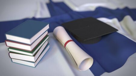 Graduation cap, books and diploma on the Finnish flag. Higher education in Finland related conceptual 3D rendering