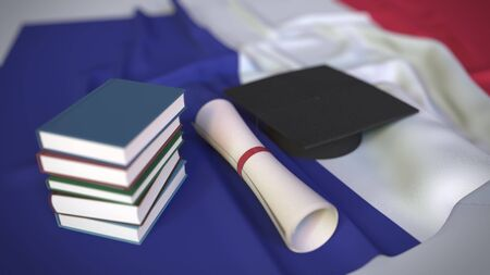 Graduation cap, books and diploma on the French flag. Higher education in France related conceptual 3D rendering