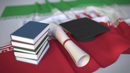 Graduation cap, books and diploma on the Iranian flag. Higher education in Iran related conceptual 3D rendering