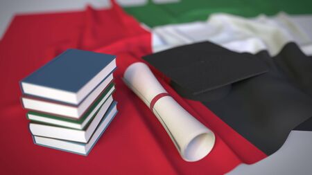 Graduation cap, books and diploma on the flag. Higher education in the United Arab Emirates UAE related conceptual 3D rendering