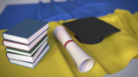 Graduation cap, books and diploma on the Ukrainian flag. Higher education in Ukraine related conceptual 3D rendering