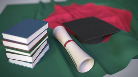 Graduation cap, books and diploma on the Bangladeshi flag. Higher education in Bangladesh related conceptual 3D rendering