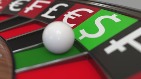 Ball in Dollar sign pocket on casino roulette wheel. Conceptual 3D rendering
