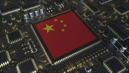 National flag of China on the operating chipset. Chinese information technology or hardware development related conceptual 3D rendering