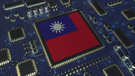 National flag of Taiwan on the operating chipset. Taiwanese information technology or hardware development related conceptual 3D rendering Stockfoto