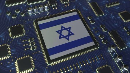 National flag of Israel on the operating chipset. Israeli information technology or hardware development related conceptual 3D rendering