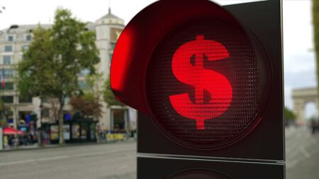 Dollar sign on red traffic light signal. Forex related conceptual 3D rendering
