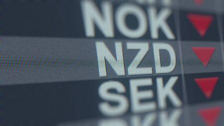 Decreasing New Zealand Dollar exchange rate indicator. NZD forex ticker 3D rendering Stock fotó