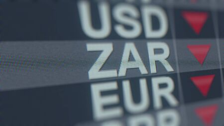 Decreasing South African Rand exchange rate indicator on computer screen. ZAR forex ticker 3D rendering Stock fotó