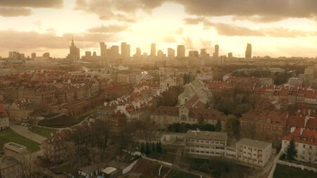 Aerial view of Warsaw skyline and famous Old Town in the foreground, Poland Stockfoto