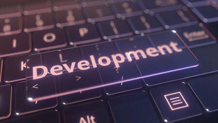 Futuristic computer keyboard and transparent development key. Conceptual 3D rendering
