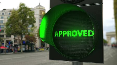 APPROVED text on green traffic light signal. Conceptual 3D rendering