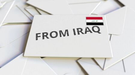 Envelope with From Iraq text on pile of other envelopes. International mail related conceptual 3D rendering