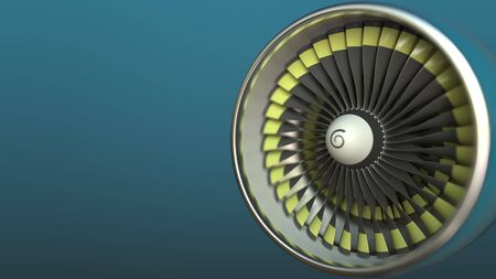 Airplane turbine engine close-up 3D rendering