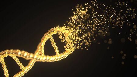 Flying particles make golden DNA molecule model. Conceptual 3D rendering Stock Photo