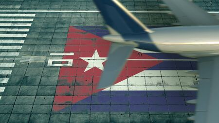 Aerial view of a landing airplane revealing flag of Cuba on the airfield of an airport. Air travel related conceptual 3D rendering