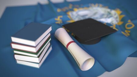 Graduation cap, books and diploma on the flag. Higher education related conceptual 3D