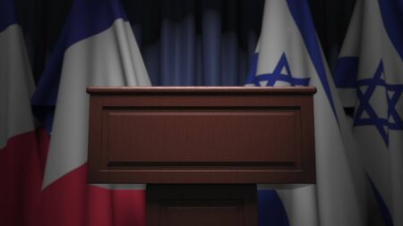 Flags of Israel and France at international meeting, 3D rendering Archivio Fotografico