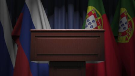 Many flags of Portugal and Russia, 3D rendering Banque d'images