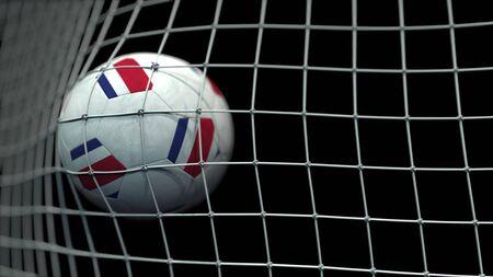 Flag on the football hitting goal net. 3D Banco de Imagens