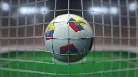 Flag on the football hitting goal net. Realistic 3D