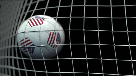 Ball with flags of the United States hits goal. 3D rendering Foto de archivo