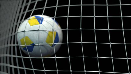 Ball with flags of Ukraine in goal against black background. Conceptual 3D rendering