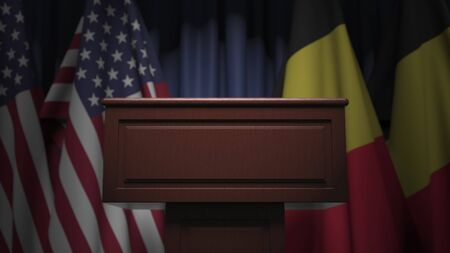 Flags of Belgium and the USA and tribune, 3D rendering