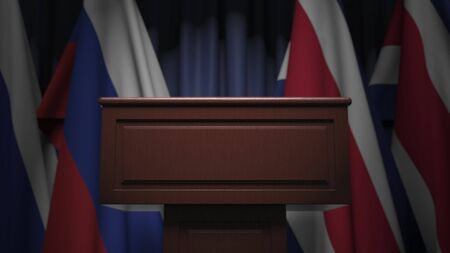 Many flags of Costa rica and Russia behind speaker tribune, 3D rendering