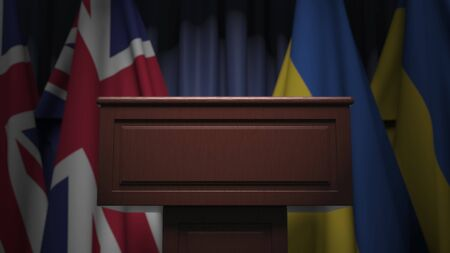 Flags of Ukraine and the United Kingdom at international meeting, 3D rendering Banco de Imagens