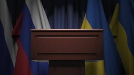 Flags of Ukraine and Russia at international meeting, 3D rendering
