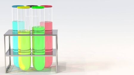 Olympic rings made of laboratory vials. Editorial doping in sport related conceptual 3D rendering