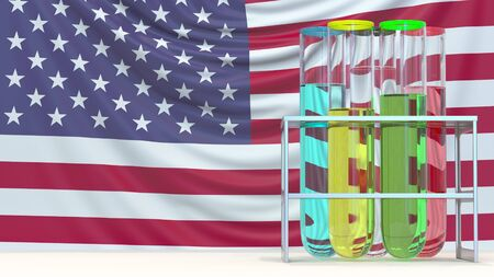 Olympic rings made of laboratory vials and American flag. Editorial doping in sport in the USA related 3D rendering Editöryel