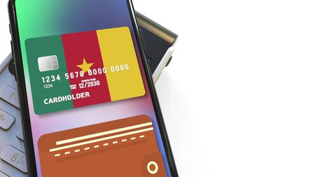 POS terminal and flag of Cameroon on the virtual credit card in smartphone. National retail or mobile payment related 3D rendering