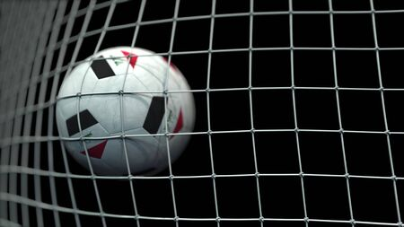 Ball with flags of Iraq hits goal. 3D rendering