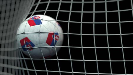 Ball with flags of Slovakia hits goal. 3D rendering Foto de archivo