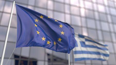 Waving flags of the European Union EU and Greece in front of a modern skyscraper facade. 3D rendering Banco de Imagens