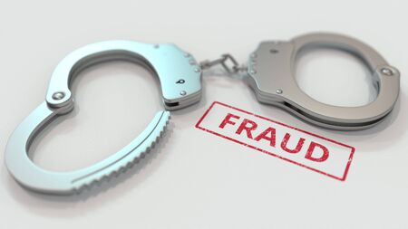 FRAUD stamp and handcuffs. Crime and punishment related conceptual 3D rendering Stock Photo