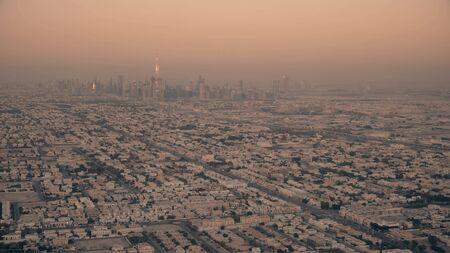 Aerial view of Dubai skyline in the evening