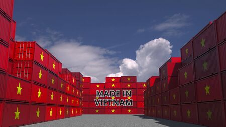 Cargo containers with MADE IN VIETNAM text and national flags. Vietnamese import or export related 3D rendering Stock Photo
