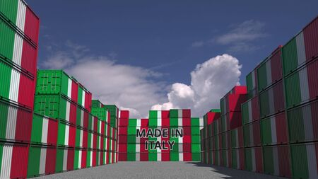Many cargo containers with MADE IN ITALY text and national flags. Italian import or export related 3D rendering Stock fotó