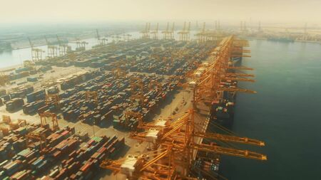 Aerial shot of the Port of Jebel Ali, the busiest port in the Middle-East